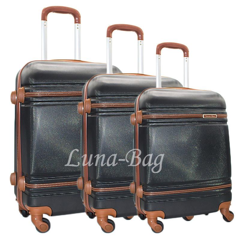 Набор из трех чемоданов 6 Цветов Черный