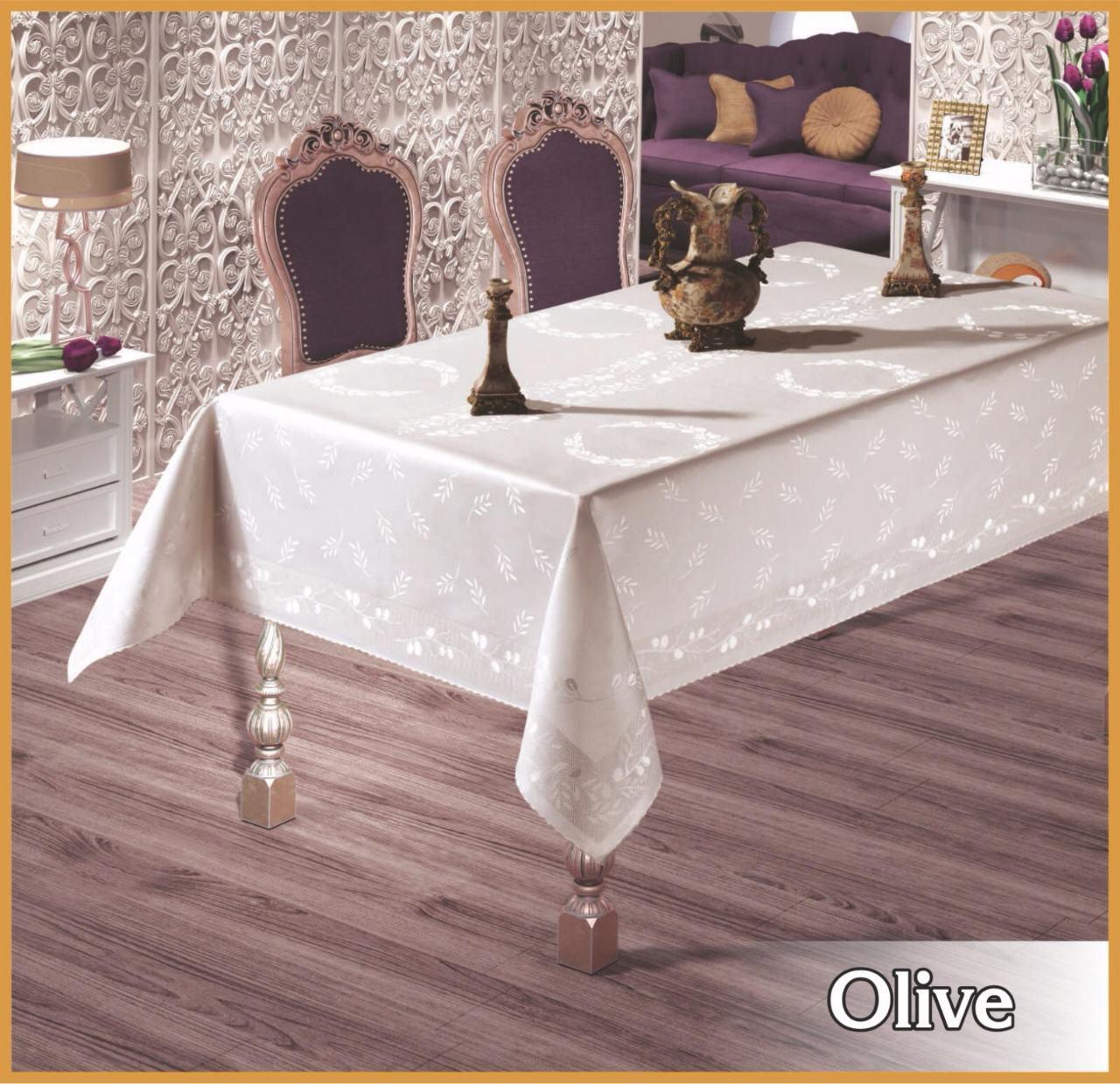 Скатерть тефлоновая прямоугольная Maison Royale Olive 160х220 Белая, Турция
