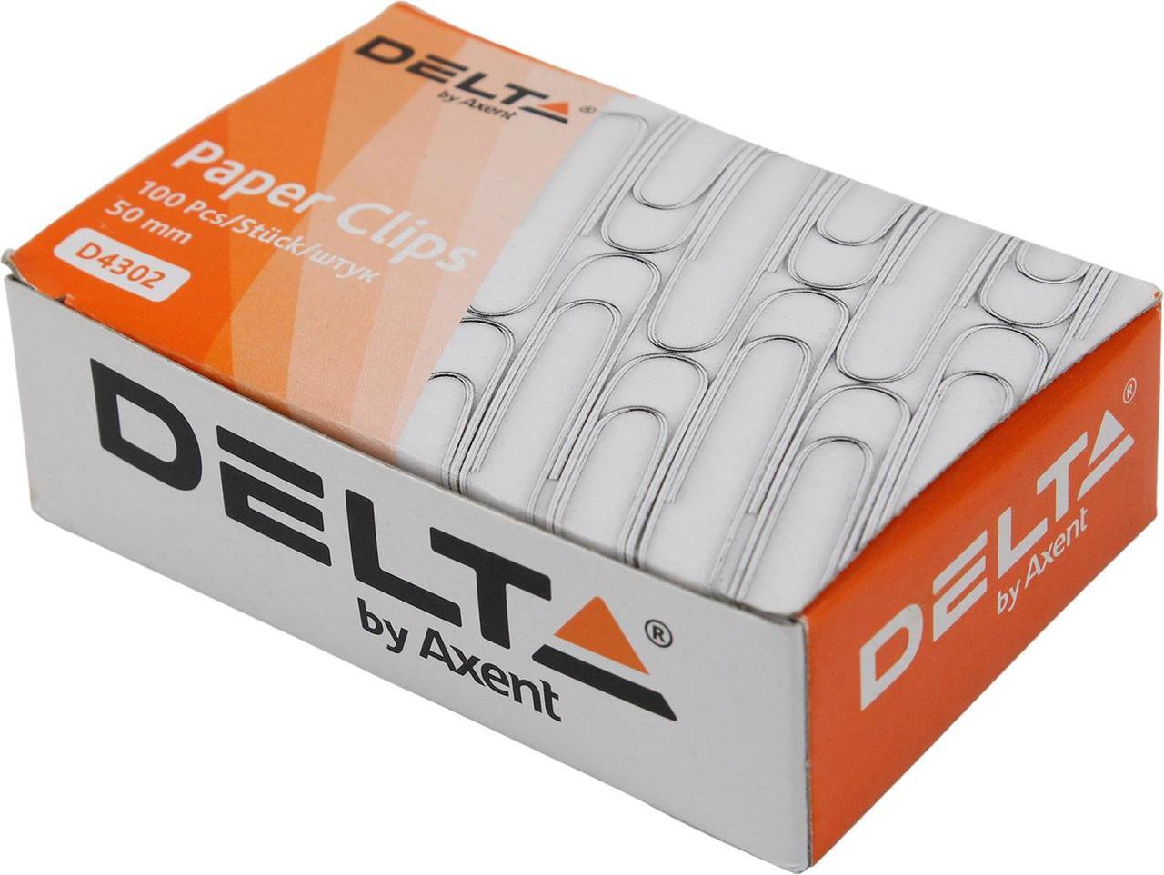 "Скріпки ""Delta by Axent"" №4302 50мм (100шт) з загином,нікель(20)(240)"