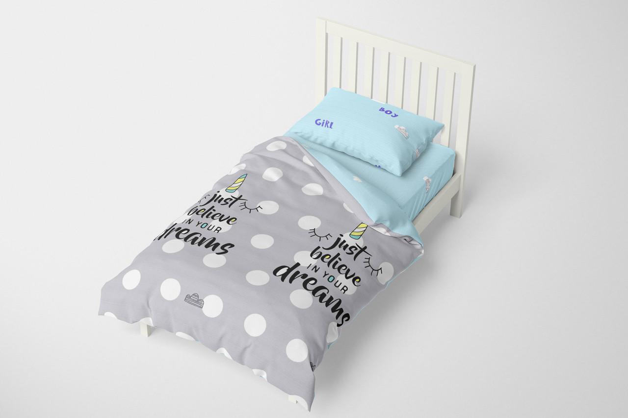 Комплект односпального постельного белья Halftones Спящий единорог Бязь Голд Люкс 160х220 Серая (HT4079)