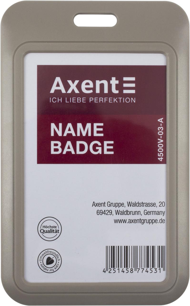 "Бейдж-слайдер ""Axent"" №4500V-03-A вертик. 54х85мм,сірий(5)"
