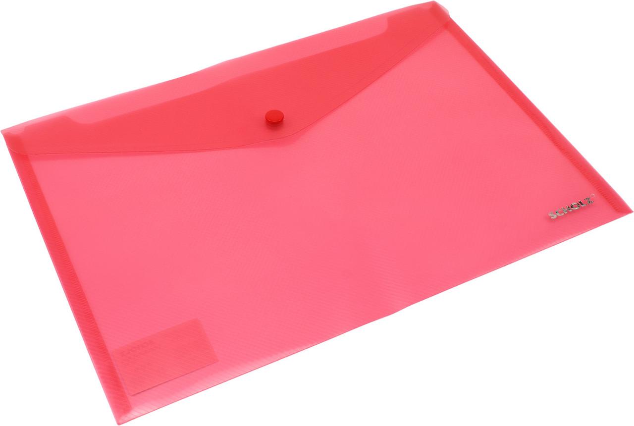 """Папка-конверт """"Scholz"""" №03500 A4 на кнопці PP червона(12)"""