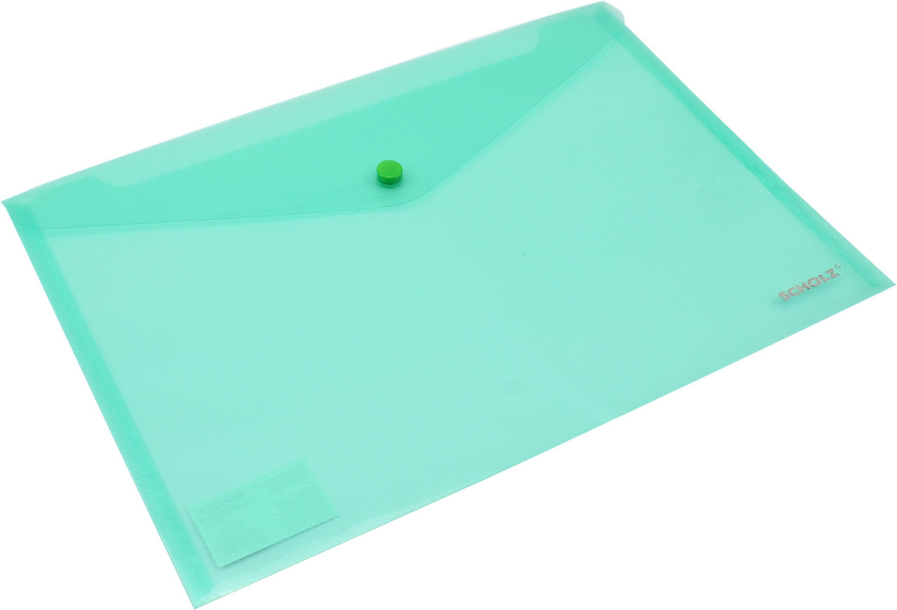 "Папка-конверт ""Scholz"" №03500 A4 на кнопці PP зелена(12)"