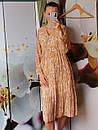 Женское платье оранжевое с цветочным принтом, фото 2