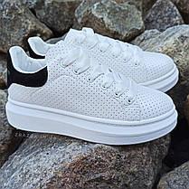 Кроссовки криперы ALEXANDER MCQUEEN |копия| белые размеры 36-41 на толстой подошве высокие кожаные перфорация, фото 2