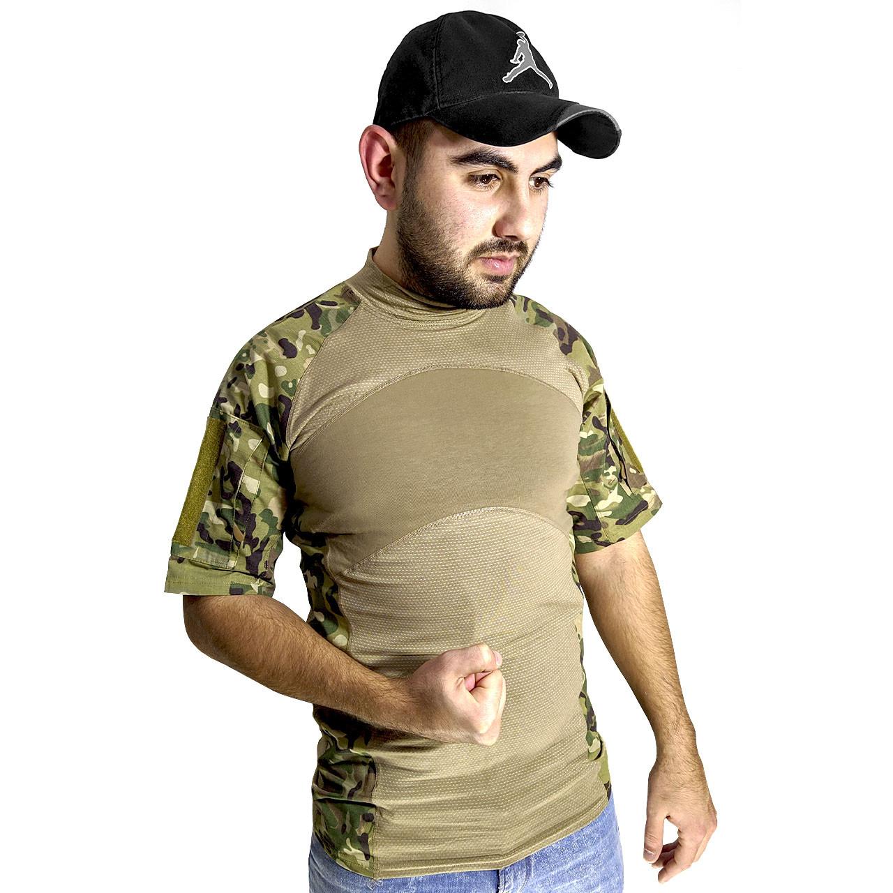 Тактическая футболка с коротким рукавом ESDY A424 Camouflage XXL мужская армейская камуфляжная с карманами