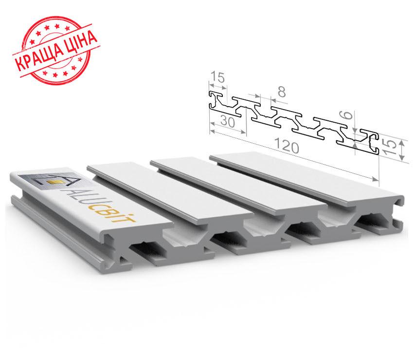 Алюминиевый конструкционный станочный профиль 120х15 без покрытия