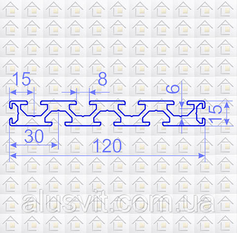 Алюминиевый конструкционный станочный профиль 120х15 без покрытия, фото 2
