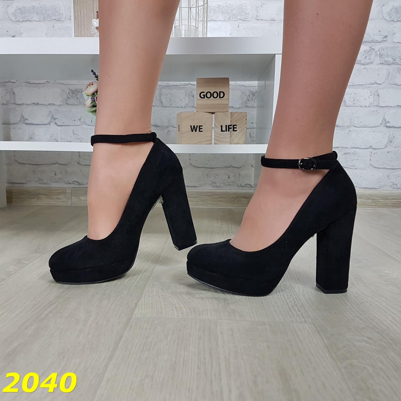 Туфли с застежкой на широком толстом устойчивом каблуке