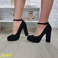 Туфли с застежкой на широком толстом устойчивом каблуке, фото 1