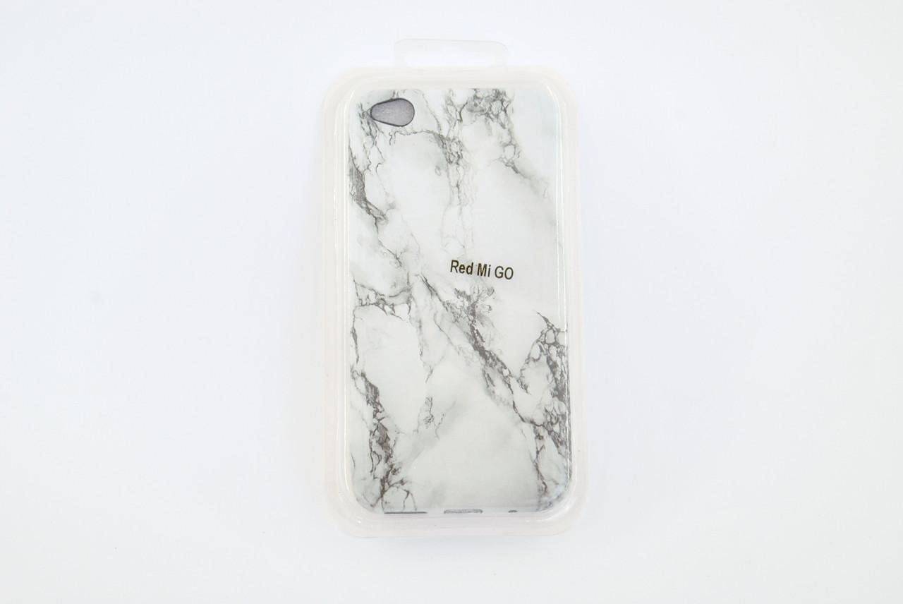 Чехол Xiaomi Redmi GO Silicone Marble Soft touch бело-серый