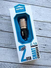 Автомобильное зарядное устройство Sertec ST-215 2100 mAh 2 Usb + кабель Micro Usb Black/gold