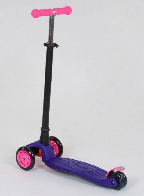 Самокат трехколесный детский со светящимися колесами фиолетовый Best Scooter Maxi 466-113/А24089