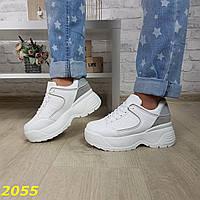 Кроссовки на высокой массивной подошве белые, фото 1