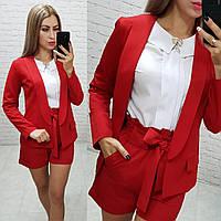 Жіночі шорти з поясом, арт. 191, колір червоний / червоного кольору