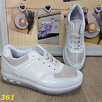 Кроссовки белые с голографическими блёстками, фото 1