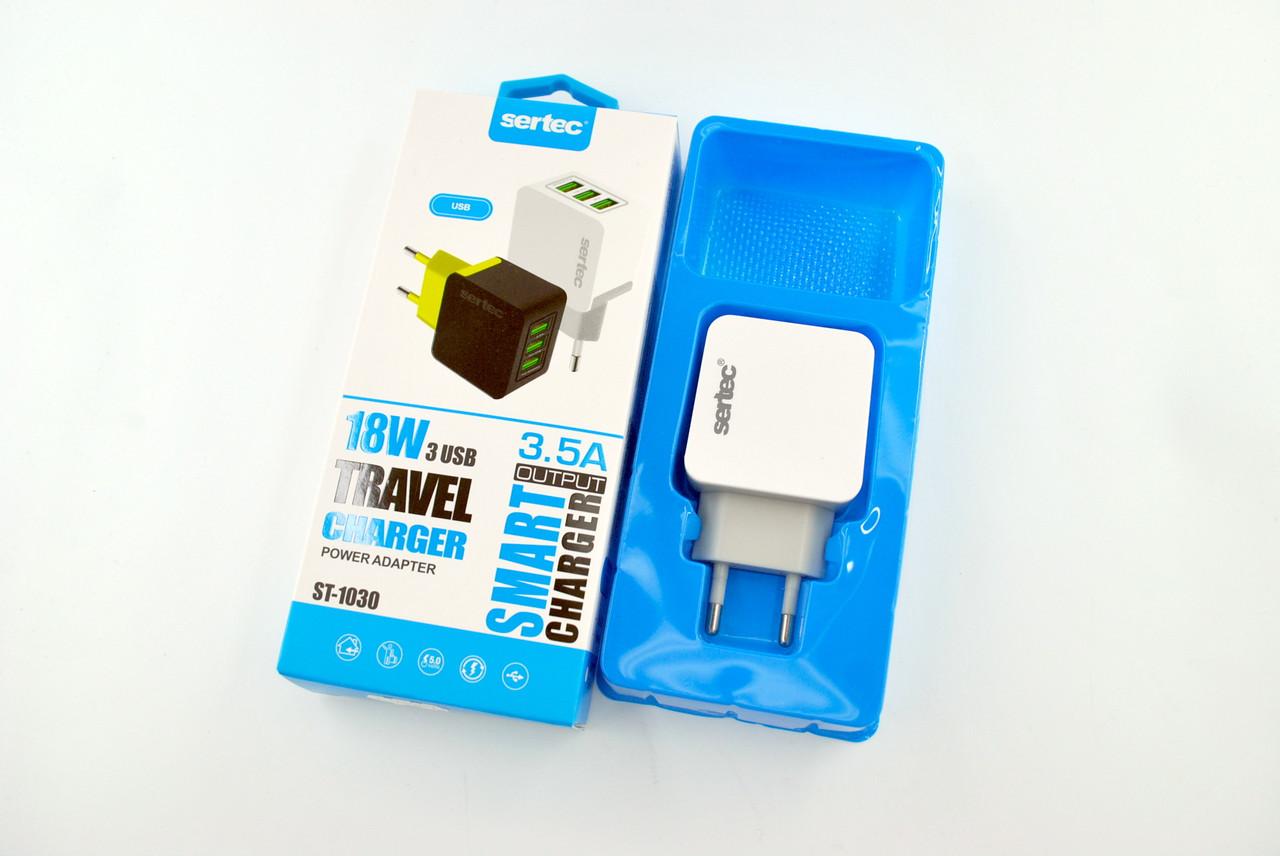 Купить Зарядные устройства для портативной техники, Зарядное устройство Sertec ST-1030 18W/3.5A 3 Usb White/grey