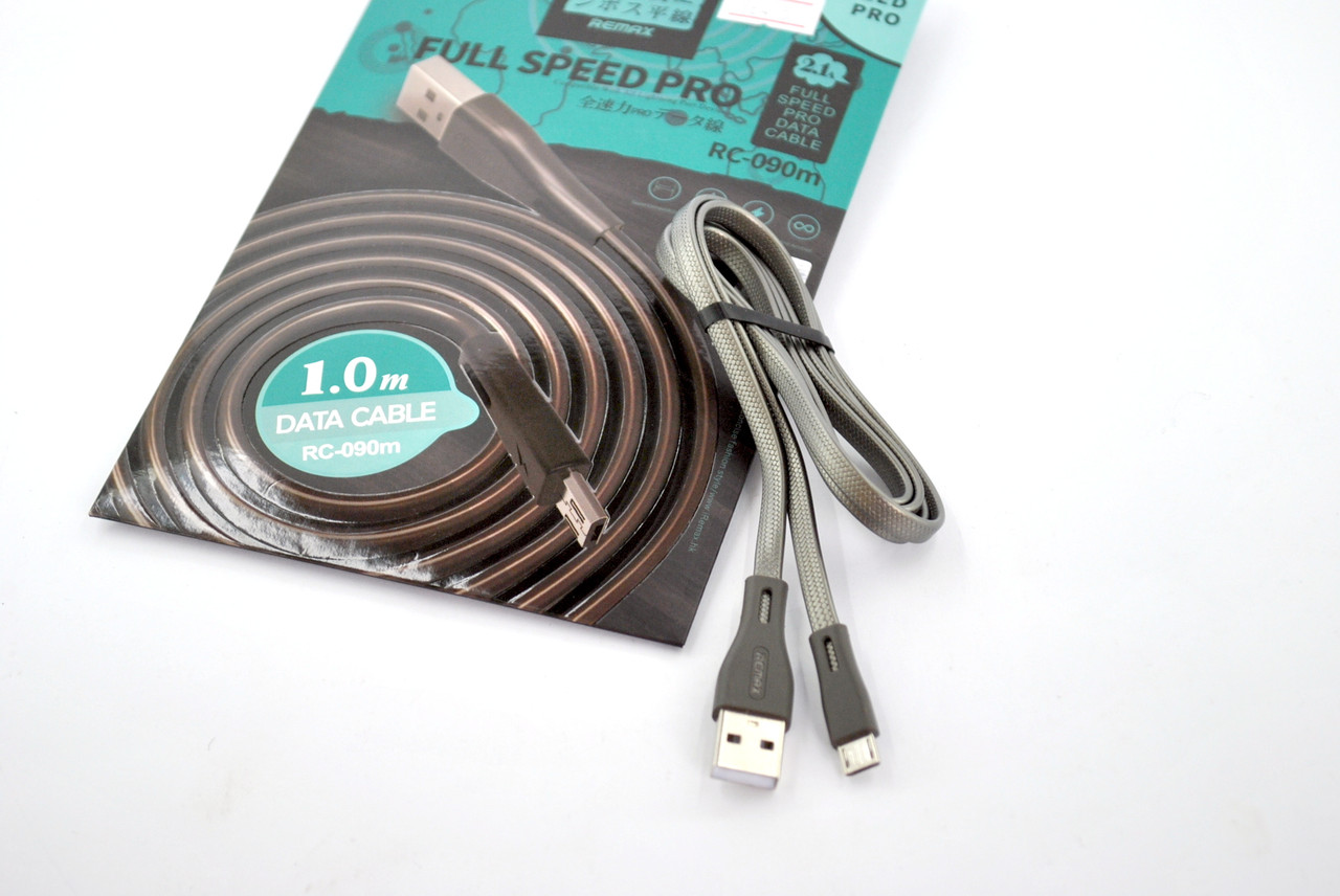 Кабель Usb-cable Micro USB Remax Full Speed PRO RC-090m 2.1A 1m (плоский) Black