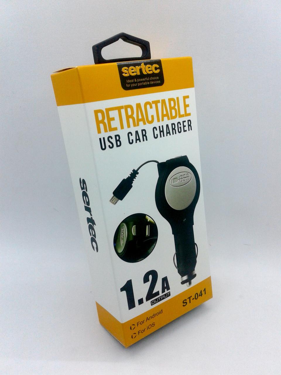 Автомобильное зарядное устройство Sertec ST-041 1200 mAh 1 Usb с выдвижным шнуром iPhone