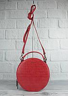 Круглая сумочка через плечо David Jones 6145-2 красная с тиснением под крокодила, фото 1