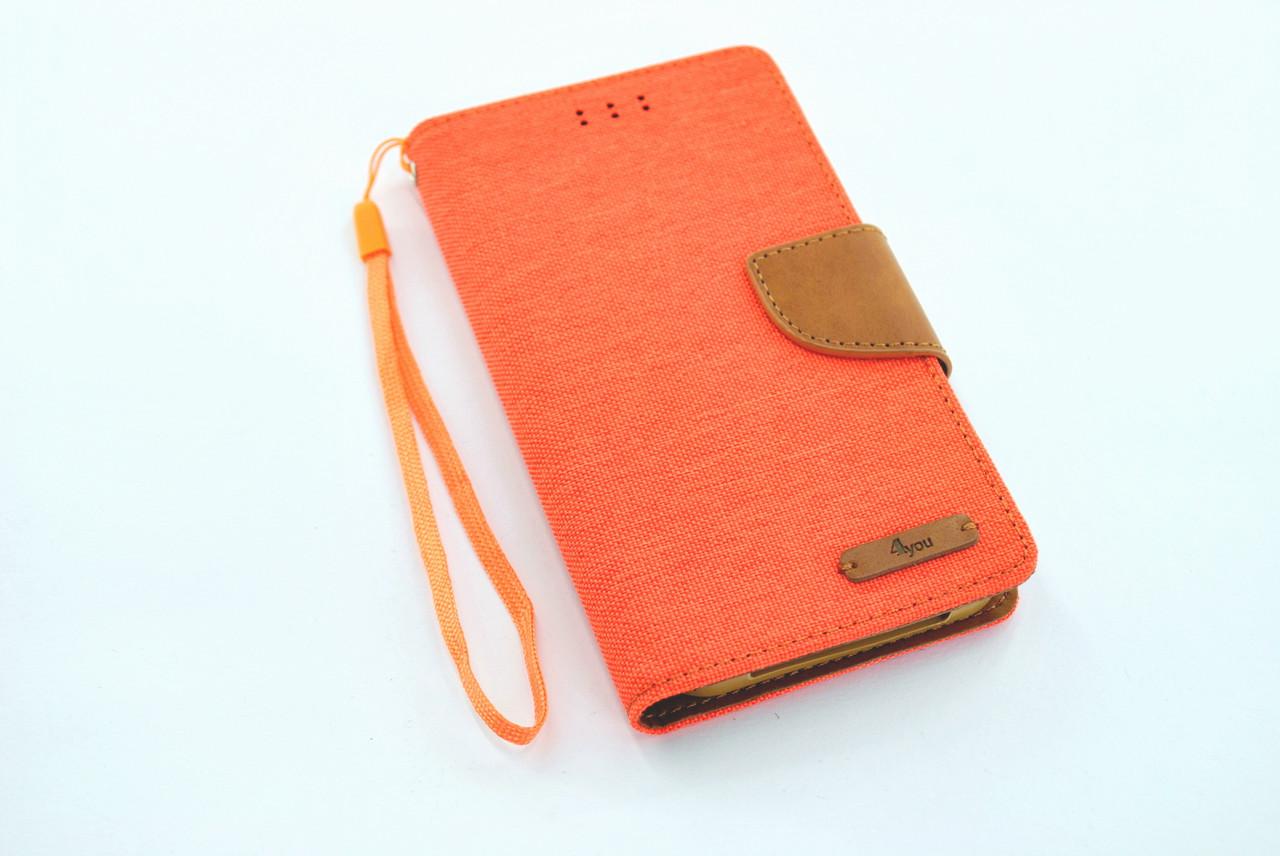 """Чехол-книжка 4you Canvas 4""""- 4,4"""" orange/brown универсальная"""