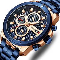 Часы мужские CURREN 8337 Blue наручный для мужчин стильный аксессуар кварцевые влагозащищенные, фото 2