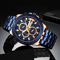 Часы мужские CURREN 8337 Blue наручный для мужчин стильный аксессуар кварцевые влагозащищенные, фото 3
