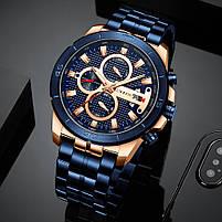 Часы мужские CURREN 8337 Blue наручный для мужчин стильный аксессуар кварцевые влагозащищенные, фото 4