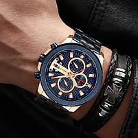 Часы мужские CURREN 8337 Blue наручный для мужчин стильный аксессуар кварцевые влагозащищенные, фото 5