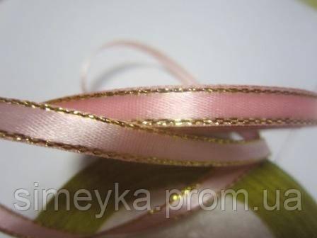 Лента атлас 0,5 см нежно-розовая с люрексовой каймой. Заказ от 3 м