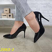 Класичні туфлі на невисокому каблуці шпильці чорні, фото 1