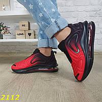 Кроссовки аирмакс на амортизаторах силиконовой подушке черные с красным омбре