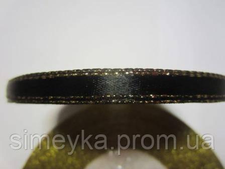 Лента атлас 0,5 см чёрная с люрексовой каймой. Заказ от 3 м