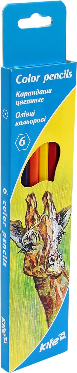 """Олівці кольор. 6 кольор. """"Kite"""" №K15-050K Тварини(24)(480)"""