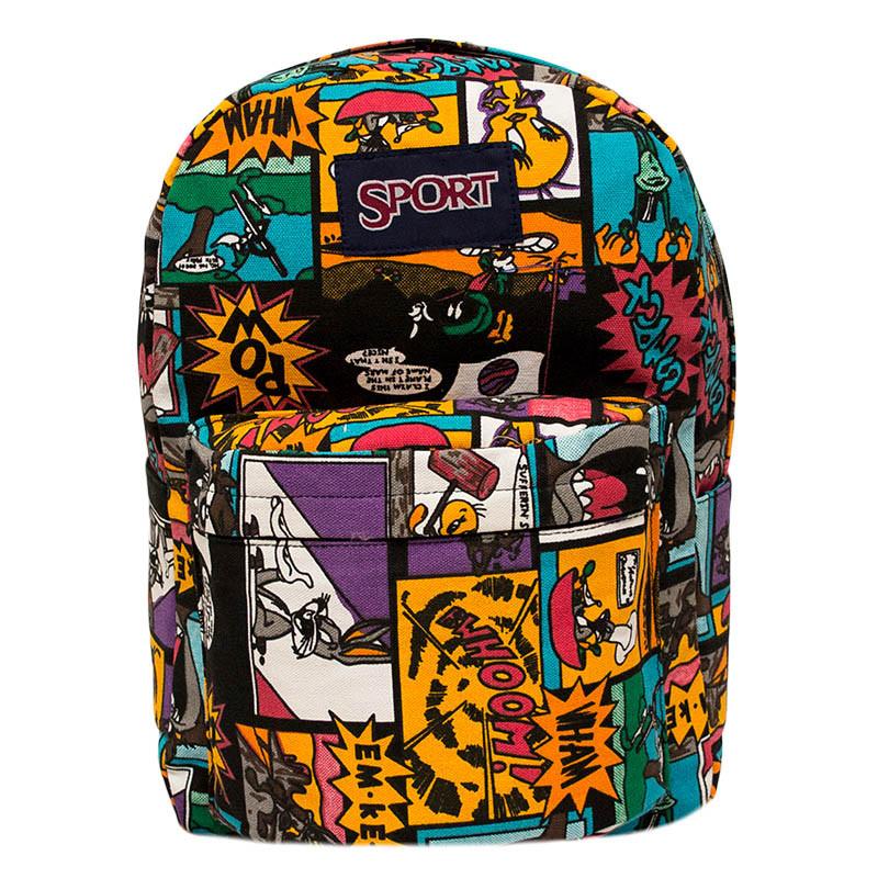 Спортивный рюкзак (Sport) с принтом (Comics) 7 Цветов Черный
