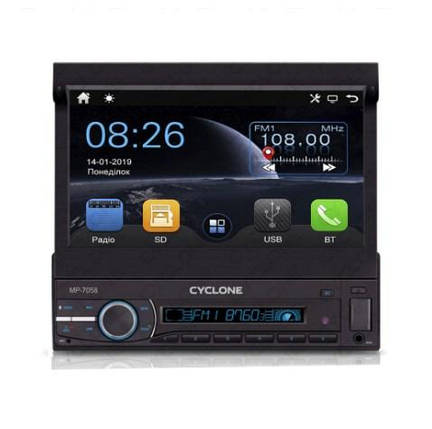 Автомагнитола Cyclone MP-7058 (Bluetooth, USB, SD, дисплей 7*, 1DIN, +пульт, mp5), фото 2