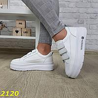 Криперы кроссовки на липучках на высокой платформе белые