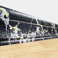 Самоклеющийся гибкий плинтус Черно-Желтый Мрамор (рулонный настенный/напольный пластиковый ПВХ багет) 240*8 см, фото 1