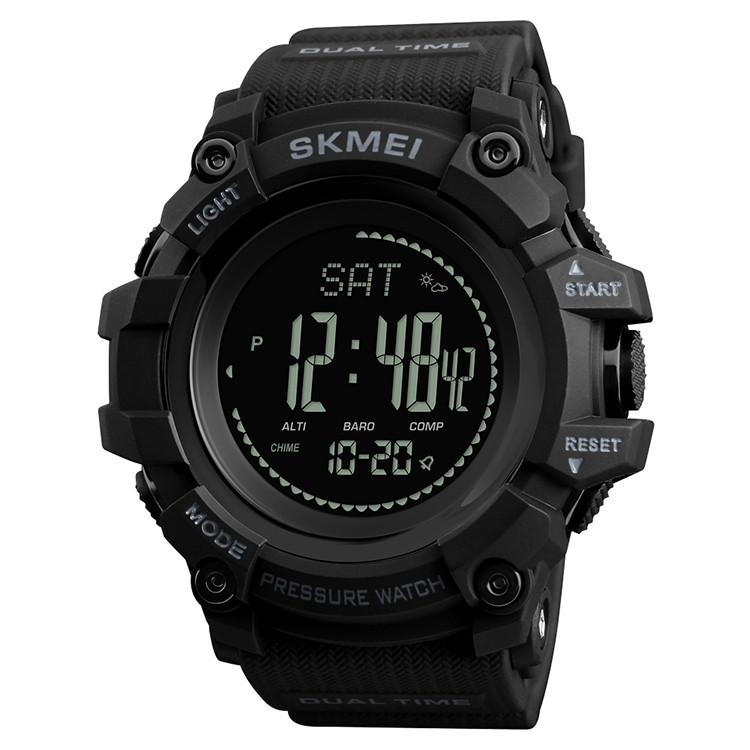 Skmei  1358  processor черные мужские часы  с шагомером и барометром