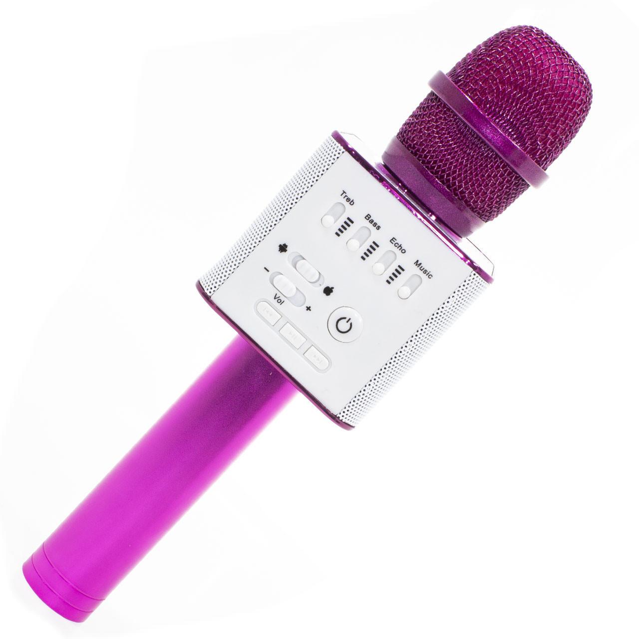 Беспроводной портативный микрофон Micgeek Q9 для караоке Bluetooth c чехлом Розовый (1354-9592а)