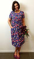 Платье в цветочный принт индиго