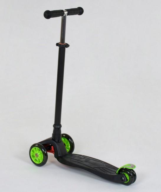 Самокат трехколесный детский со светящимися колесами черный Best Scooter Maxi 466-113/А24144