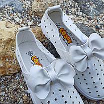 Белые кеды на липучке детские летние кожаные перфорация без шнурков кроссовки, фото 2