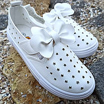 Белые кеды на липучке детские летние кожаные перфорация без шнурков кроссовки, фото 3