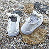 Белые кеды на липучке детские летние кожаные перфорация без шнурков кроссовки, фото 4
