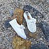 Белые кеды на липучке детские летние кожаные перфорация без шнурков кроссовки, фото 5