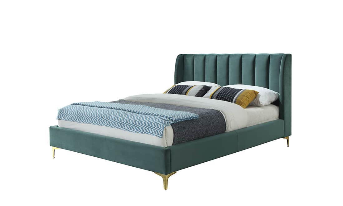 Кровать с мягким изголовьем Лея 1,6х2м зеленый бархат от Frisco