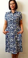 Платье-миди из стретч-льна, фото 1