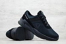 Мужские весенние кроссовки  черные сетка Reebok