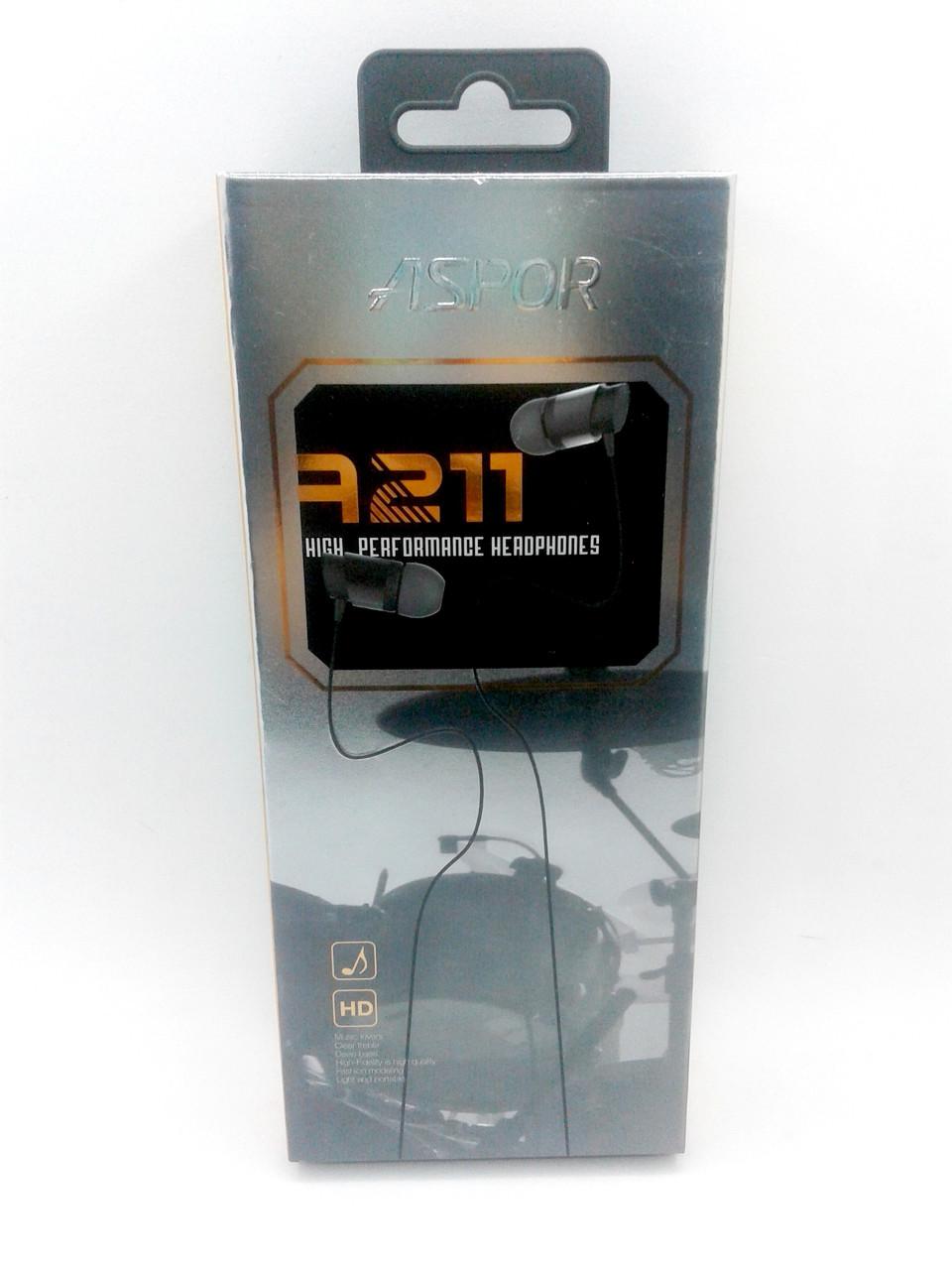 Гарнитура Aspor A211 (круглый провод) black